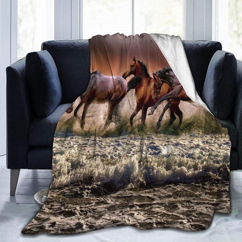 KOSALAER Bedding Manta,Animal Carrera de Caballos de Tres Colores,Mantas cálidas de Sala de Estar/Dormitorio Ultra Suaves para Todas Las Estaciones