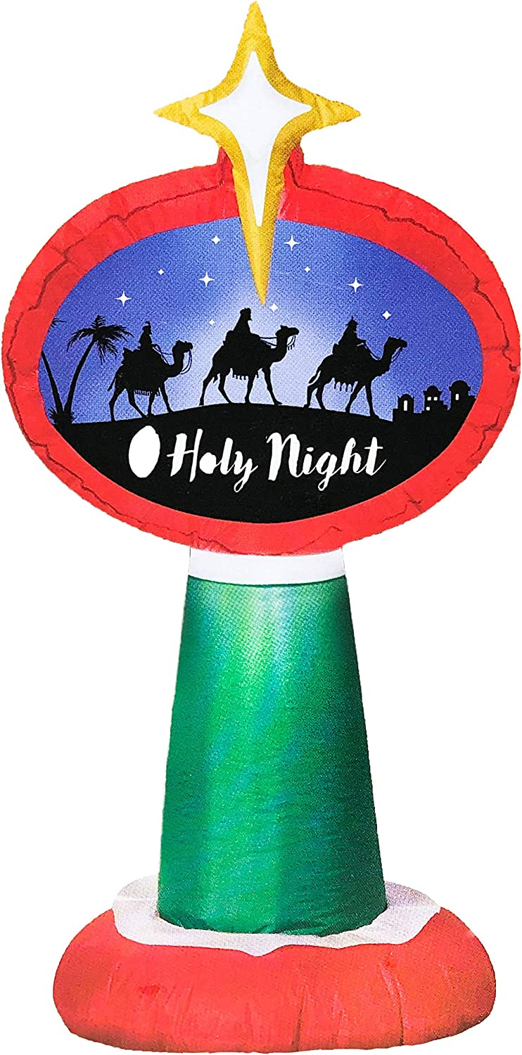 Christmas O Holy Night Sign Inflatable 3.5 Tall Lighted Airblown Holiday Yard Decoration