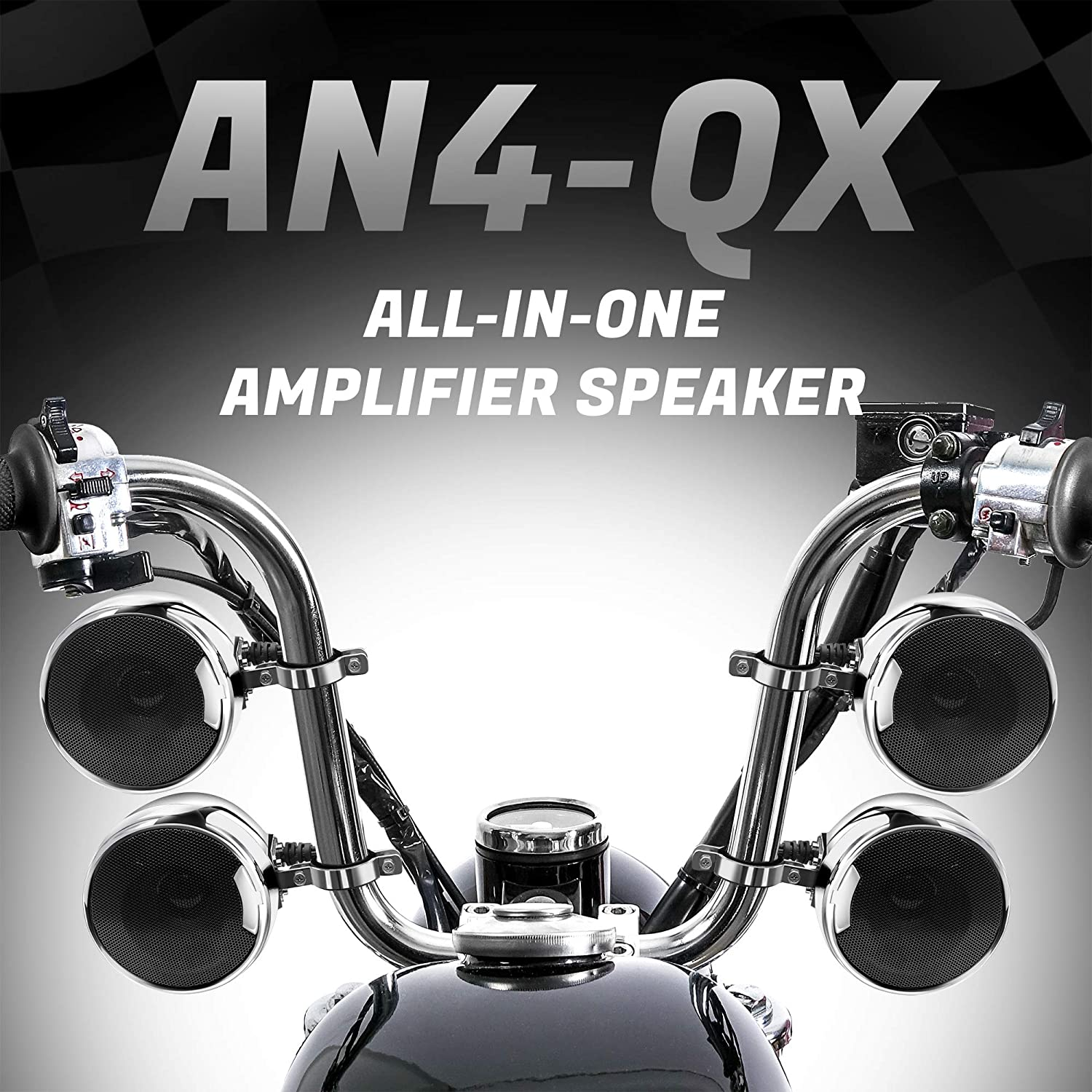 Automotive Motorcycle & ATV GoHawk AN4-QX 1200W 4 Channel All-in-One Amplifier 4.5 Full Range Waterproof Bluetooth Motorcycle Stereo Speakers Audio Amp System w/AUX for 1-1.5 Handlebar Harley Cruiser Can-Am ATV UTV RZR Polaris