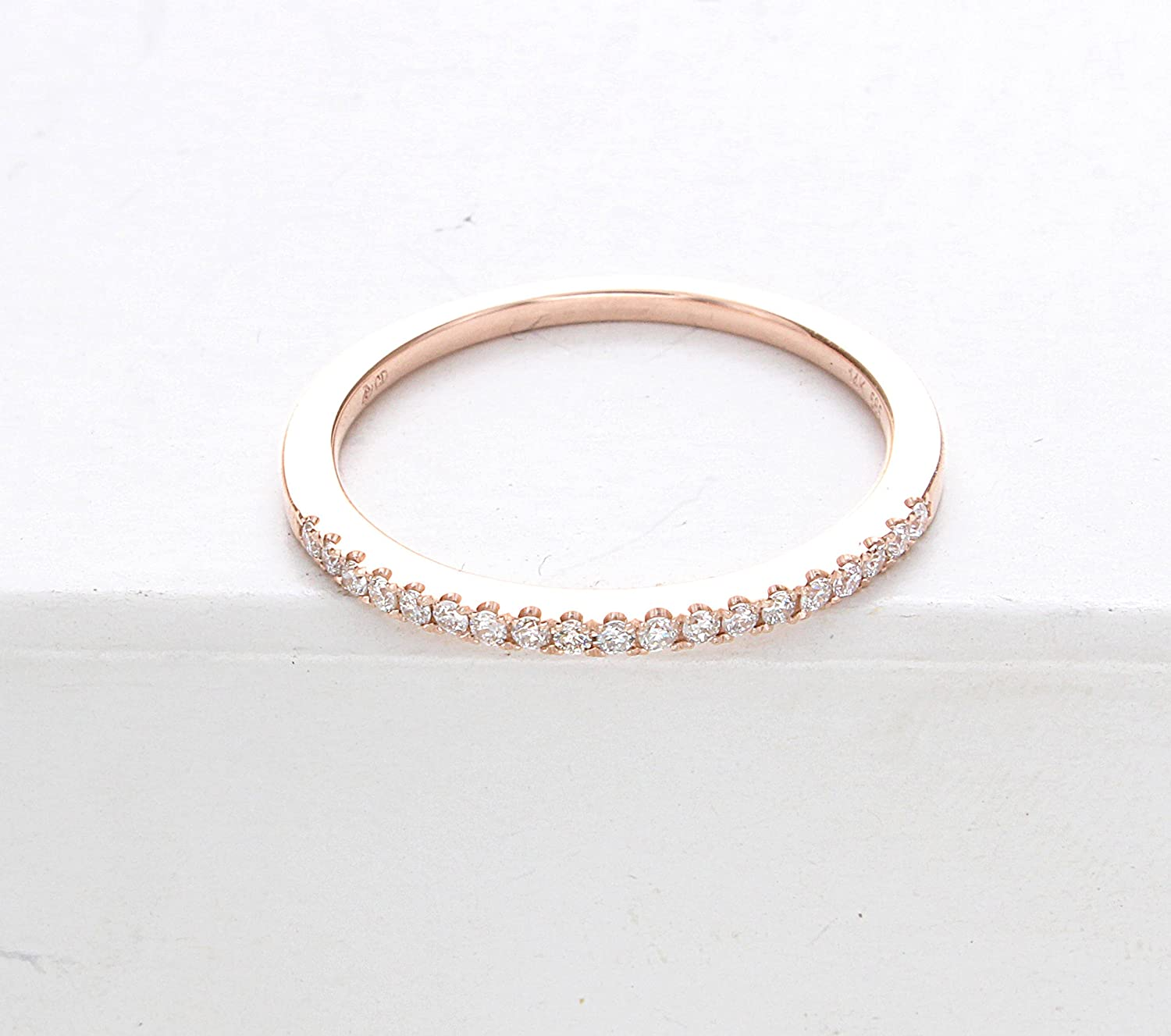 stackable ring three rose around rings curve diamond thin k band gold elegant oval dainty design bands