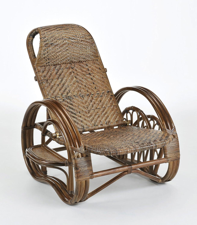 リクライニング座椅子 ダークブラウン ミドルタイプ(座面高35cm) 幅79cm 《ミガロ自然素材 ラタン籐 A204B》 B0734L14Q1