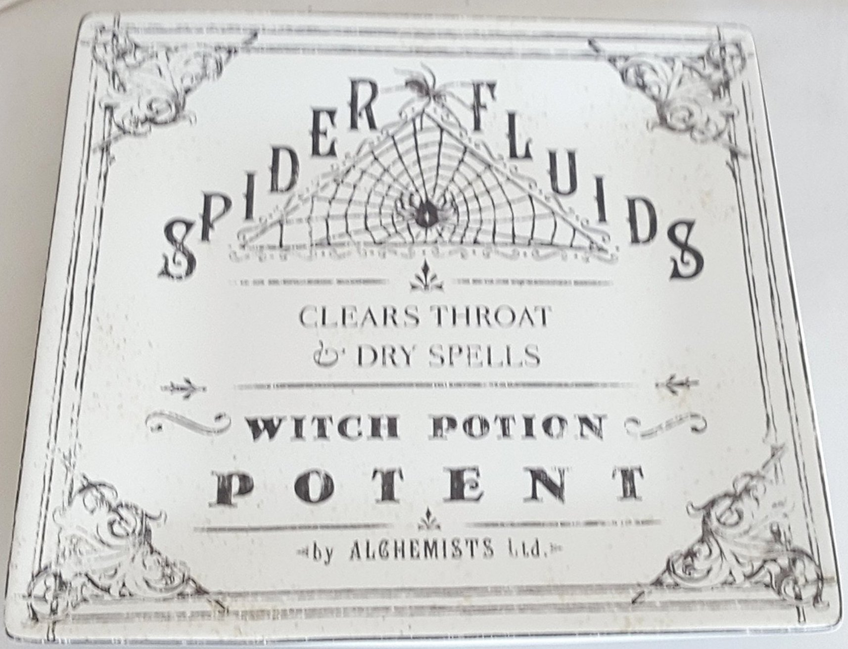 222 Fifth Hallow Apothecary Spider Fluids Large Square Halloween Serving Plate / Platter