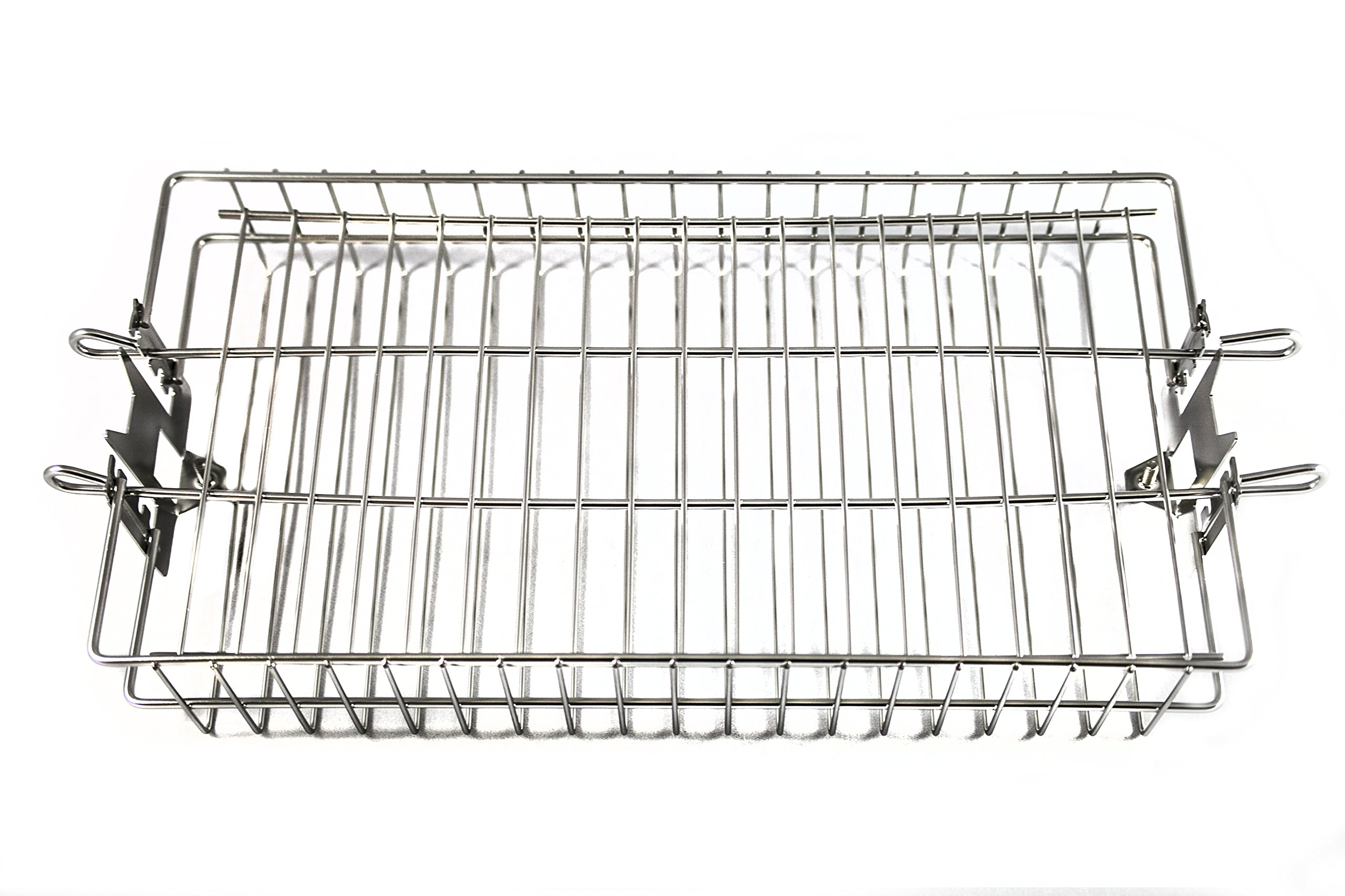 OneGrill Chrome Steel Universal Grill Rotisserie Spit Rod Flat Basket (Fits: 5/16'' Square, 3/8'' Square, 1/2'' Hexagon Spit Rods)