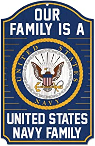 "WinCraft Military Navy United States Navy 11"" x 17"" Wood SignUnited States Navy 11"" x 17"" Wood Sign, Multicolor, NA"