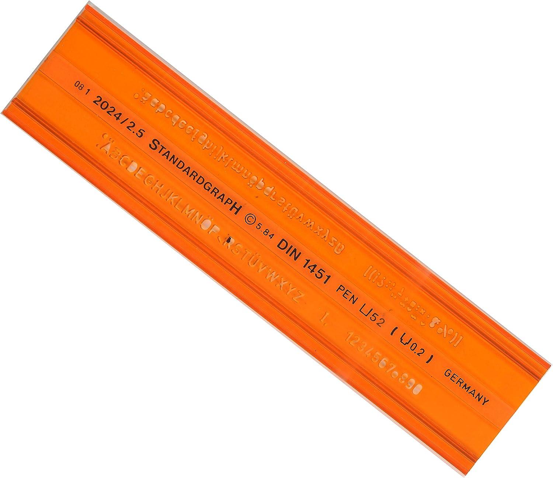 Graphoplex GXST2024/2,5 - Regla escolar con silueta de numerosnúmeros y letras (2,5 5 mm), color naranja: Amazon.es: Oficina y papelería