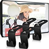Back Seat Headrest Hanger Storage Hooks for Car, SUV (Set of 4) by Starling's-Black. Clothes Hangers | Universal Fit for Umbrellas, Plastic Bags &More