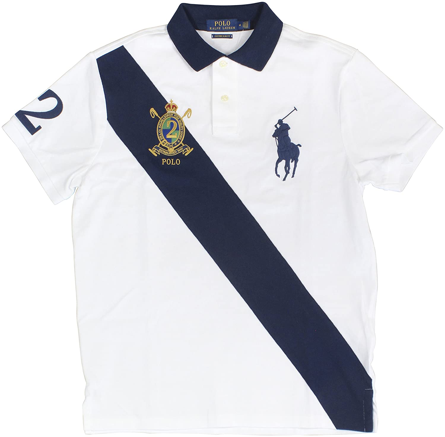 d892b005 Polo Ralph Lauren Men's Big Pony Crest Custom Slim Fit Mesh Sash Polo Shirt  (Medium, White MU) at Amazon Men's Clothing store: