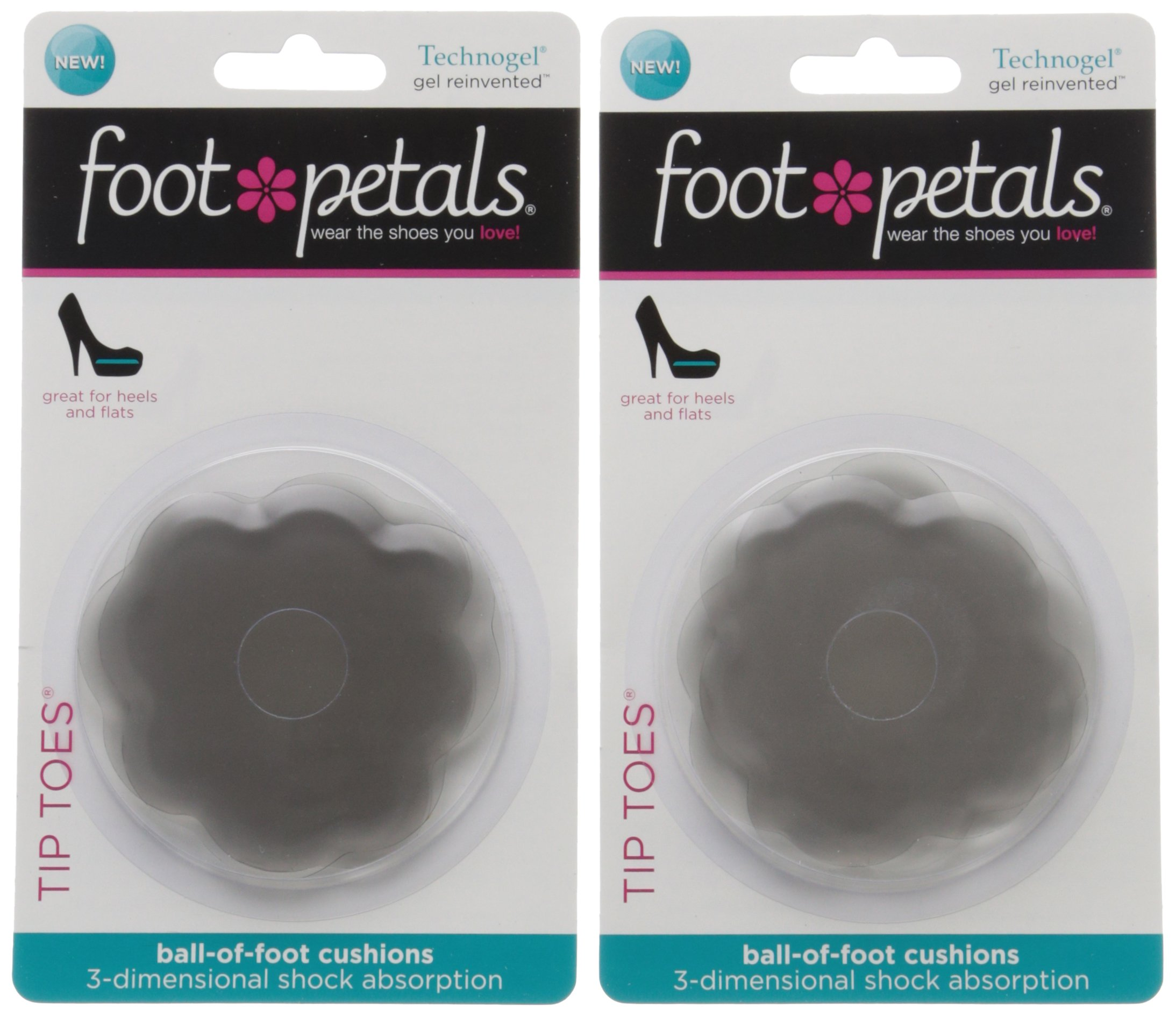 Foot Petals Women's Tip Toes Technogel 2-Pair Pack Insole, Charcoal, Medium/One Size M US