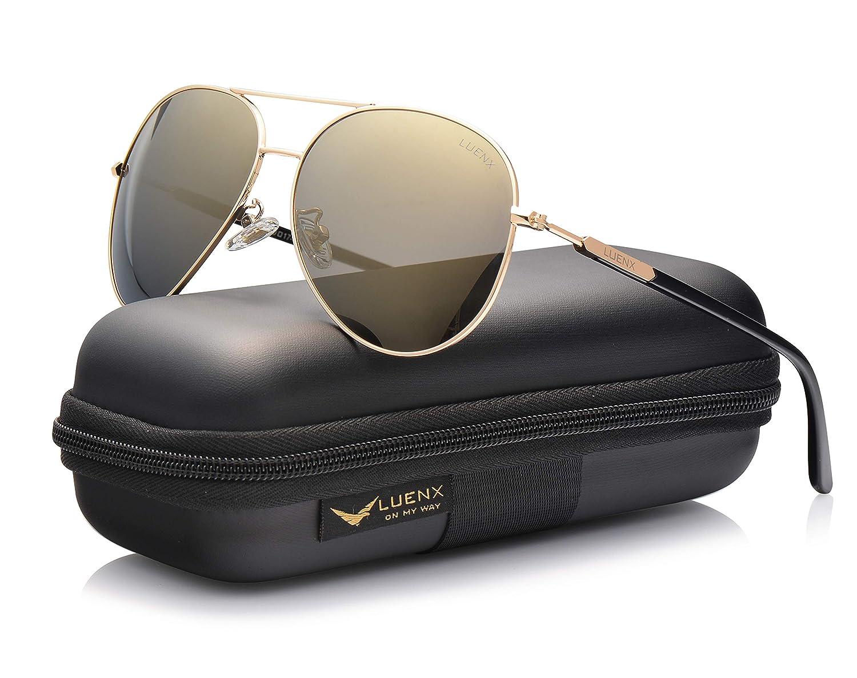 LUENX Uomo occhiali da sole Aviatore Polarizzate di guida con il caso 60MM L1503-12