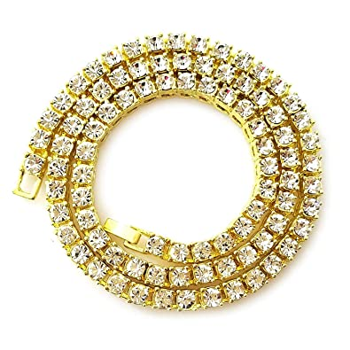 7546a27d48c3d Riveting Jewelry Unisex Iced Out Hip Hop Gold Artificial Diamond Solid CA  Tennis Chain 14K Men Diamond Cut Cuban Link Chain. 27 inch