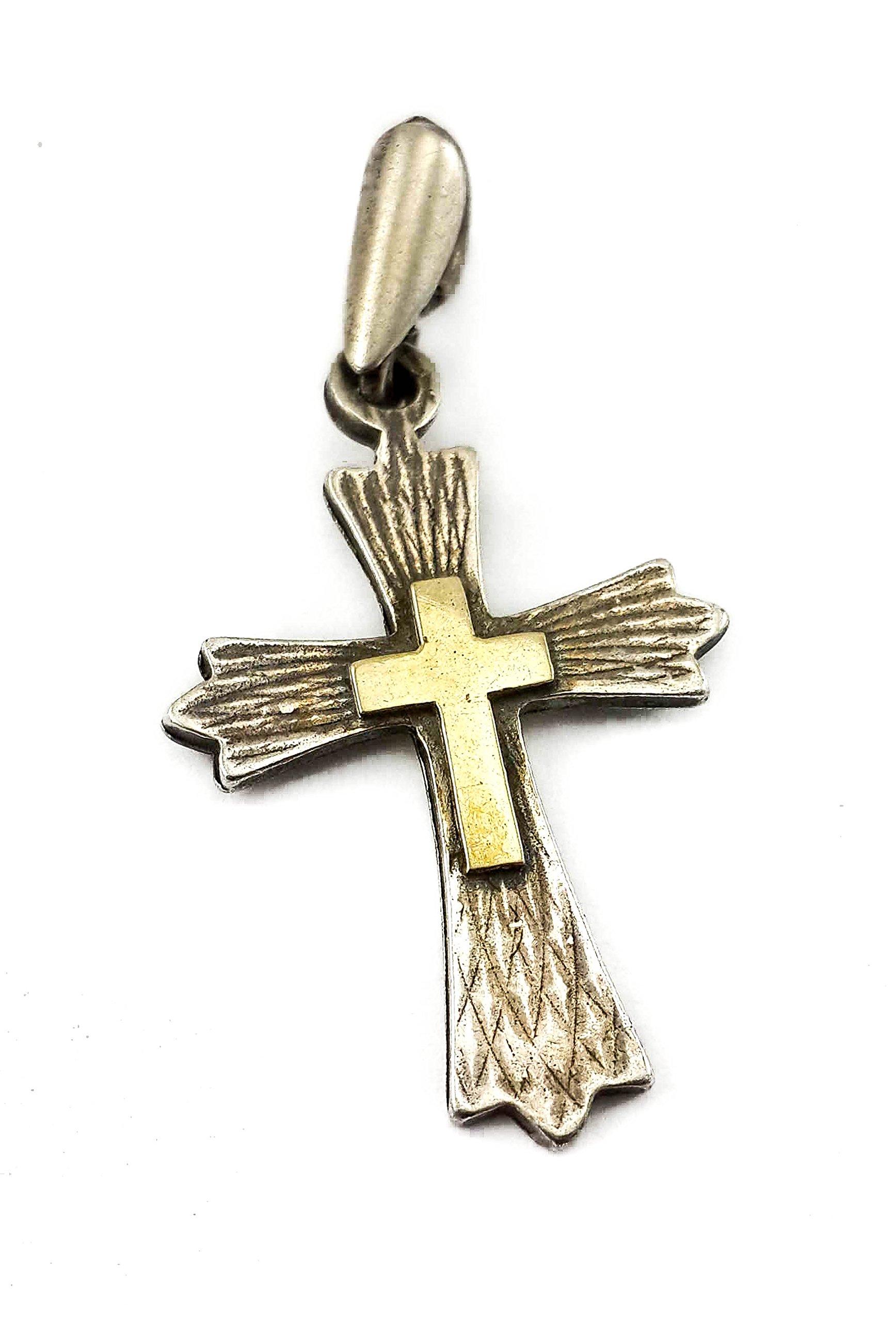 Christian Cross Silver 925 Pendant 9k Gold Vintage Design Jerusalem Crucifix 1.1'' by NZRT