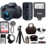 Canon EOS Rebel T5i Digital SLR Camera w/ EF-S 18-55m & 55-250mm IS STM Lenses + 32GB SDHC Memory Card + Digital Flash + Spare Battery and Charger + Deluxe Bundle