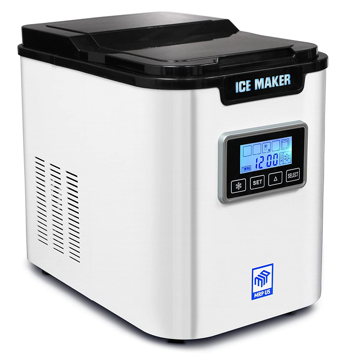MRP US Portable Ice Maker IC703 With 3 Selectable Cube Size and Timer(White) for Home, Offices, Schools & Commercial Use.