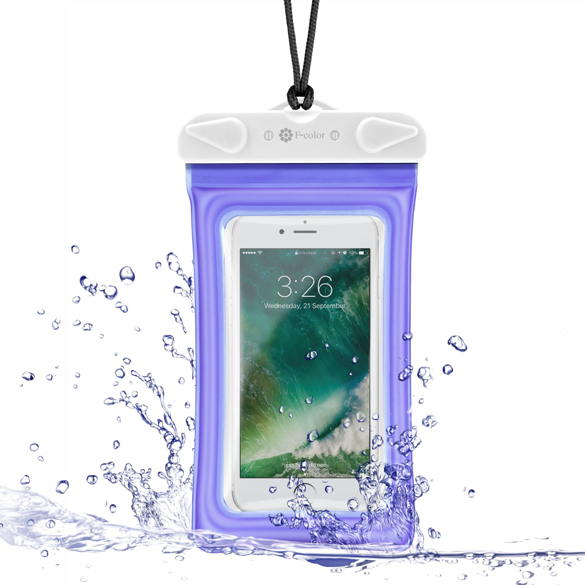 Waterproof Phone Pouch, 4 Pack F-color Clear Floating Waterproof Phone Case with Armband Beach Bag for Boating, Skiing, Water Sports, Compatible with iPhone X 8 7 6S Plus SE 5, Google Pixel and More by F-color (Image #6)