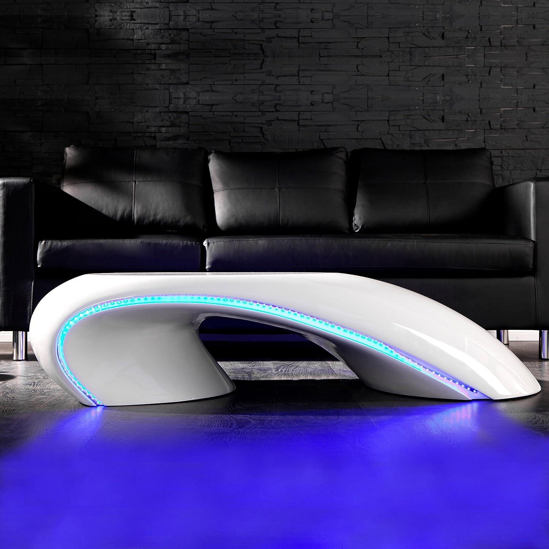 CAGÜ   DESIGN COUCHTISCH [FUTURA] WEISS HOCHGLANZ + LED BELEUCHTUNG BLAU  135cm BREITE: Amazon.de: Küche U0026 Haushalt