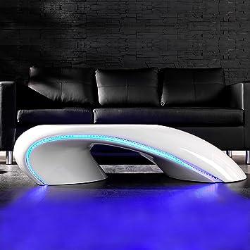 Cagü Design Couchtisch Futura Weiss Hochglanz Led Beleuchtung