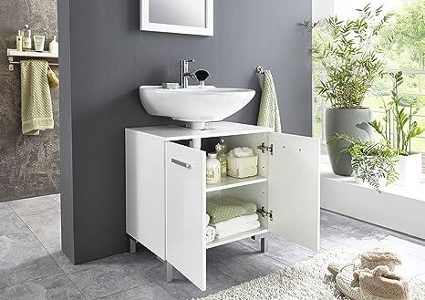 BMG Möbel Waschbeckenschrank Unterschrank Badschrank Badezimmer Schrank  Waschbeckenunterschrank in Hochglanz weiß Softclose Einlegeboden Höhe 61 cm  ...