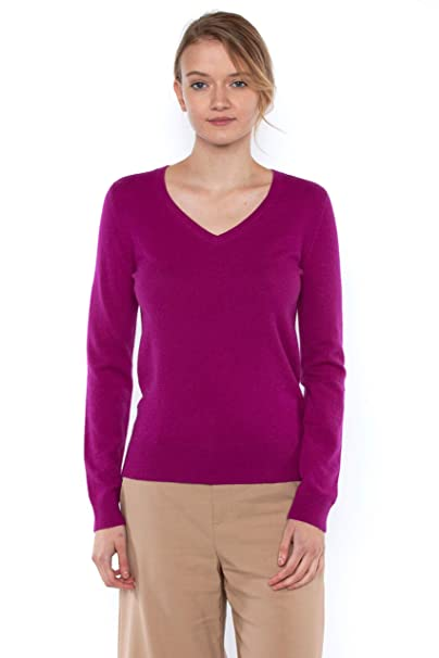 13f6a4c04f1 JENNIE LIU Women s 100% Pure Cashmere Long Sleeve Pullover V Neck Sweater  (S