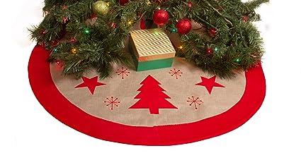 rustic burlap christmas tree skirt 36 country xmas tree decor skirts red trees - Country Christmas Tree Ornaments