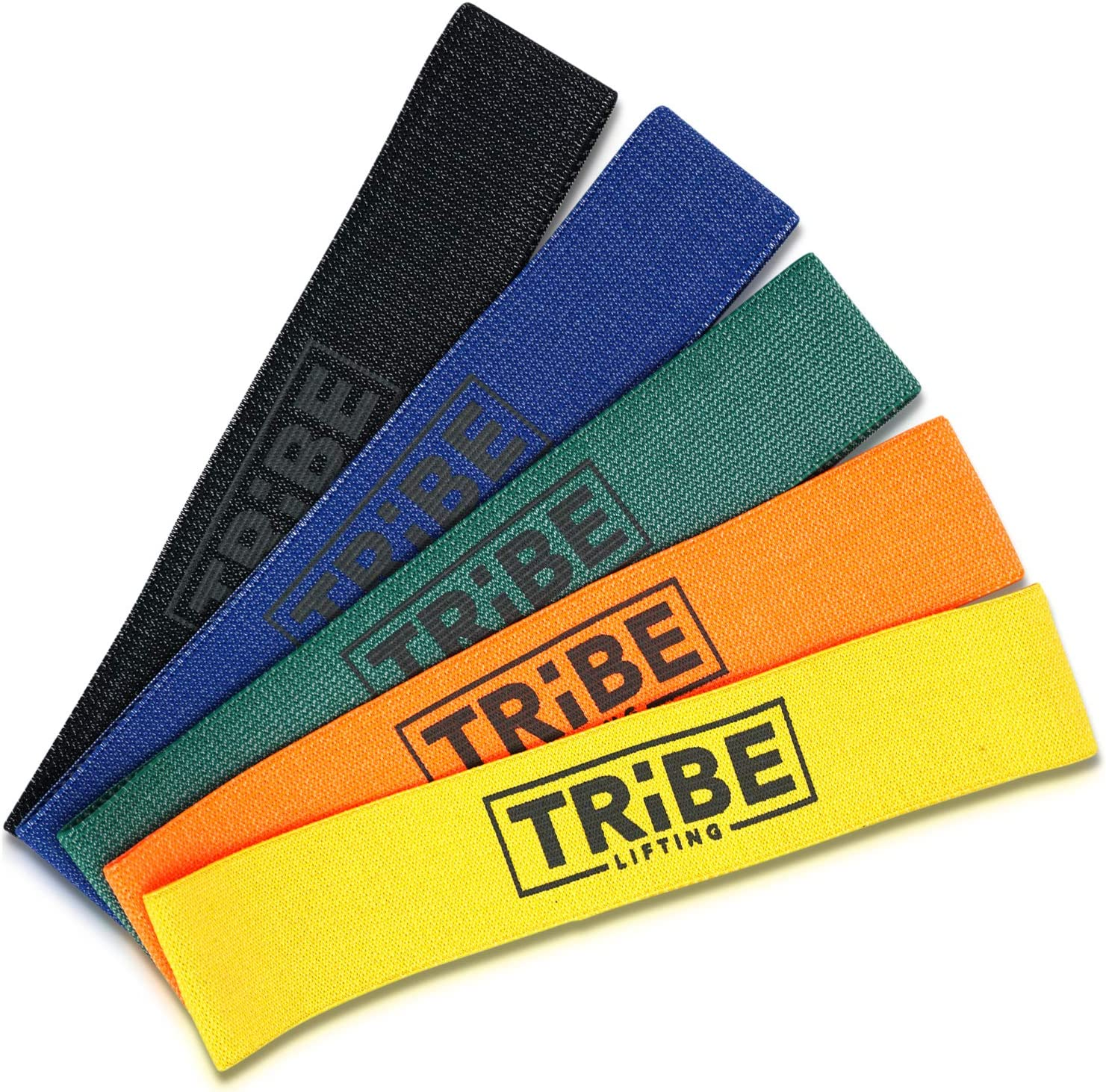 Amazon Com Tribe Lifting Fabric Resistance Bands No Snap Booty Bands For Exercise Home Gym Physical Therapy 12 X 2 5 Pack Sports Outdoors