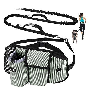 Amazon.com: Correa de perro con bolsa para manos libres ...