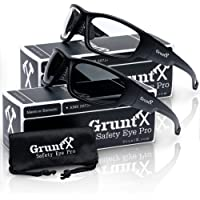 GruntX Ballistic Shooting Safety Glasses & Sunglasses for Men, Polarized & Clear, ANSI z87.1+, Tactical Safety for: Gun Range, Military, Hunting, Construction, Outdoor Sports - Full Matte Black Frame