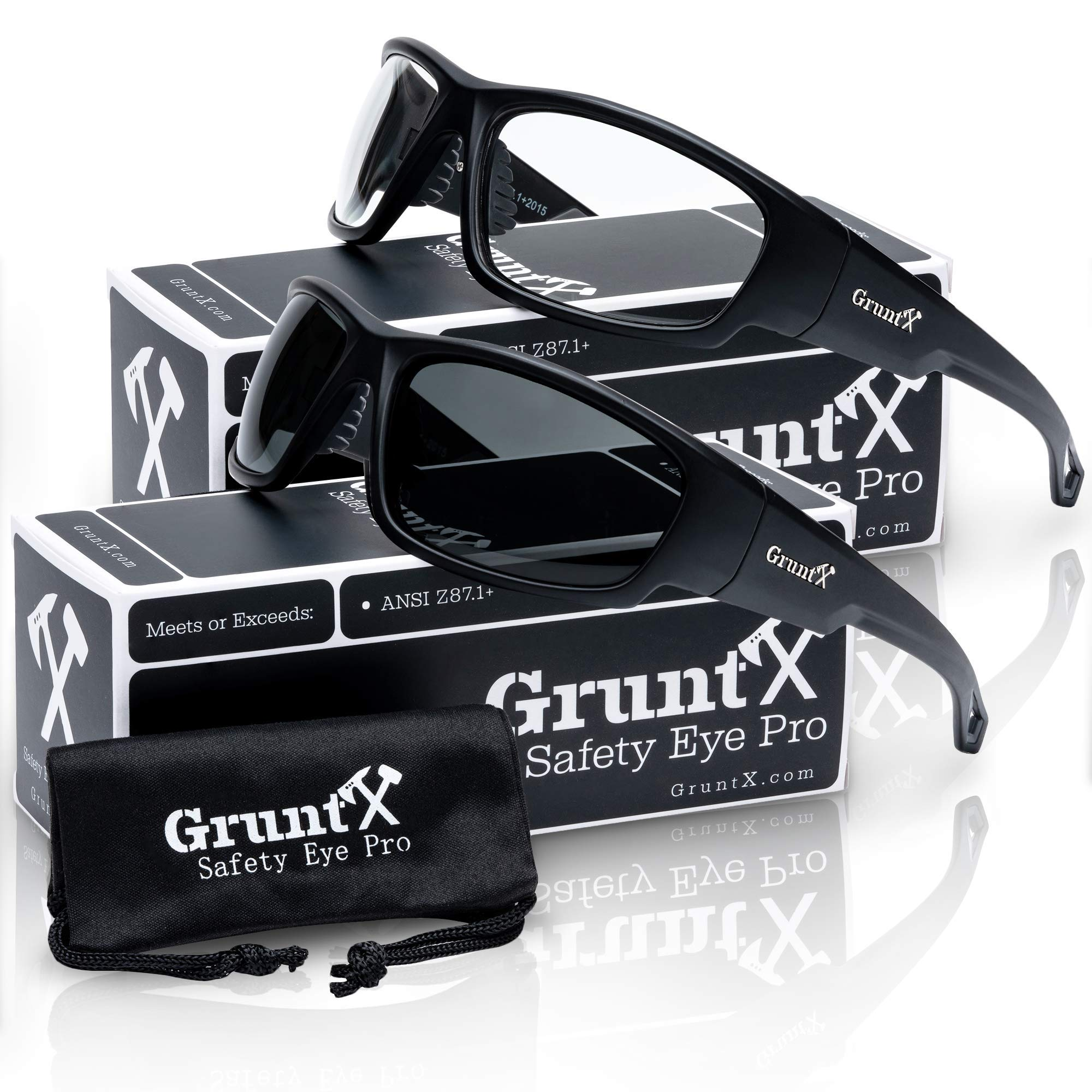 GruntX 2-Pack Ballistic Safety Sunglasses for Men - Smoked Polarized & Clear - Meets ANSI z87.1+ - Anti Scratch and UV Protection - Perfect for: Shooting, Construction, and Outdoor Sports by GruntX
