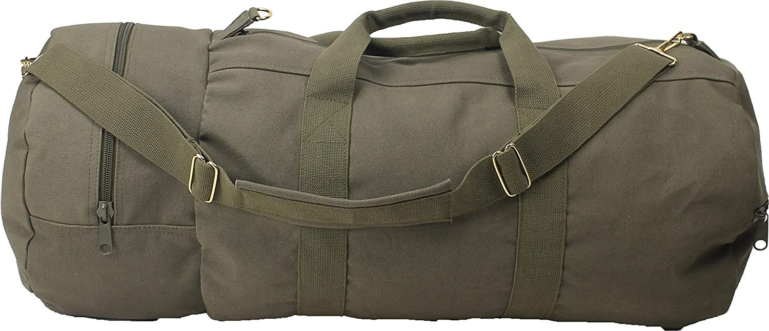 Cotton Canvas Large Shoulder Duffle Bag, Olive Drab Military Tote with Straps for Sports, Gym, Work, Everyday, Travel, Camping, Hiking, Overnight, Weekend - Packable, Carryall, Holdall [並行輸入品] B07R4W9MNL