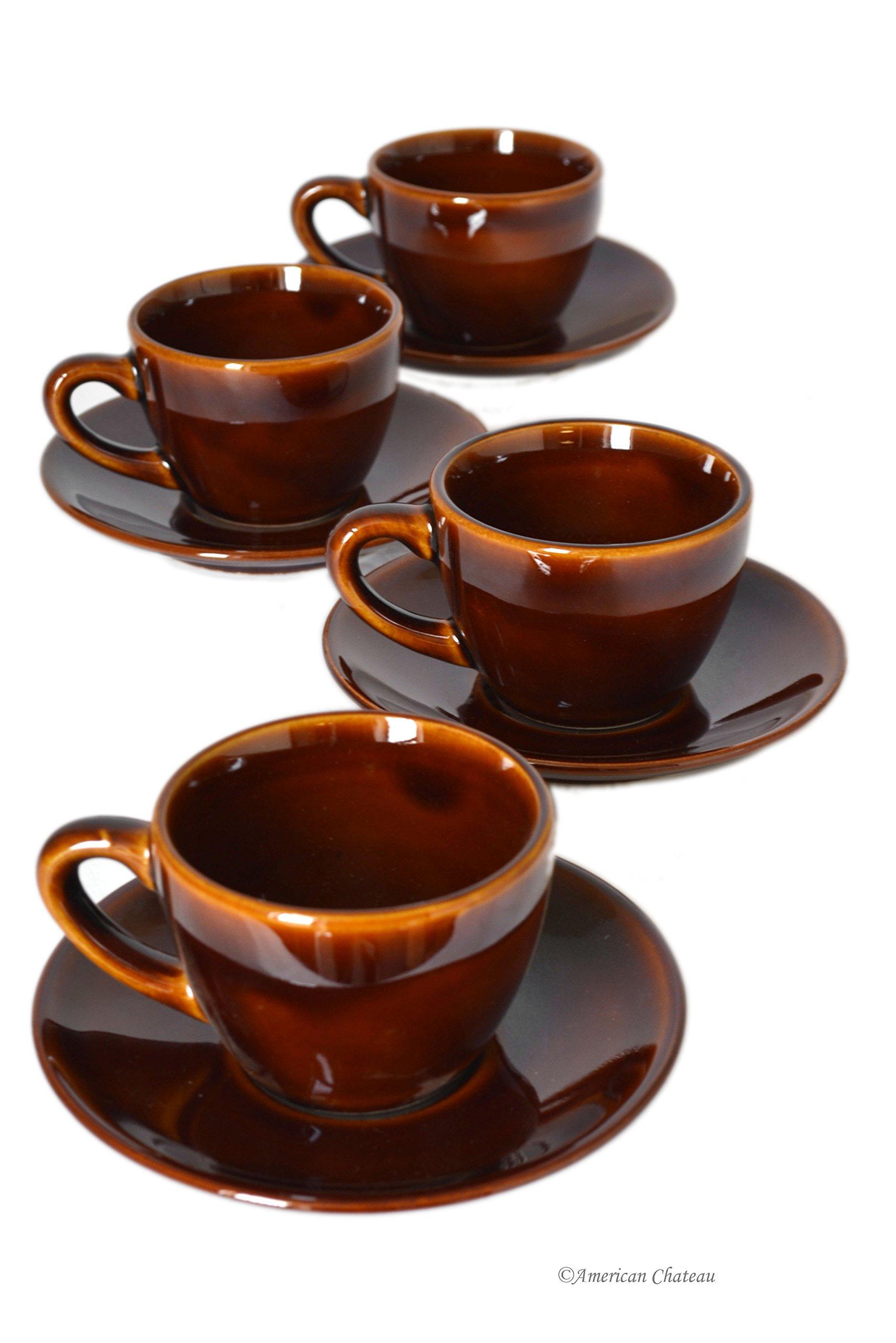 Set of 12 Vintage Brown Porcelain 4oz Demitasse Espresso Cups & Saucers