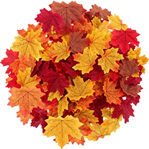 Maple Leaves Artificial Fall Leaves Bulk 400Pcs Assorted Mixed Faux Fall Color Maple Leaves Decoration Fake Maple Left Art for Craft, Wedding, Festival, Party, Thanks-Giving and Outdoor Decorating
