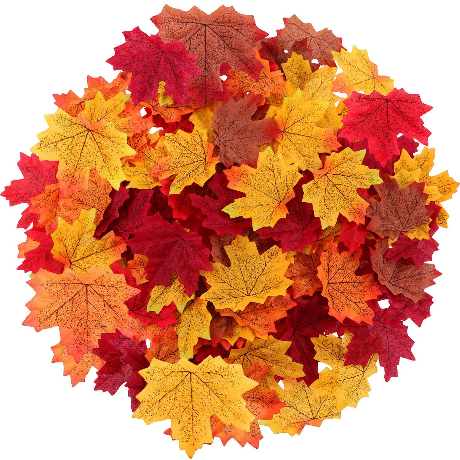Colorful faux maple leaves in vibrant colors for crafts and DIY decor - Come on over to enjoy 5 Autumn Recipes With Apples + Simple Fall Decorating Tips on Hello Lovely!