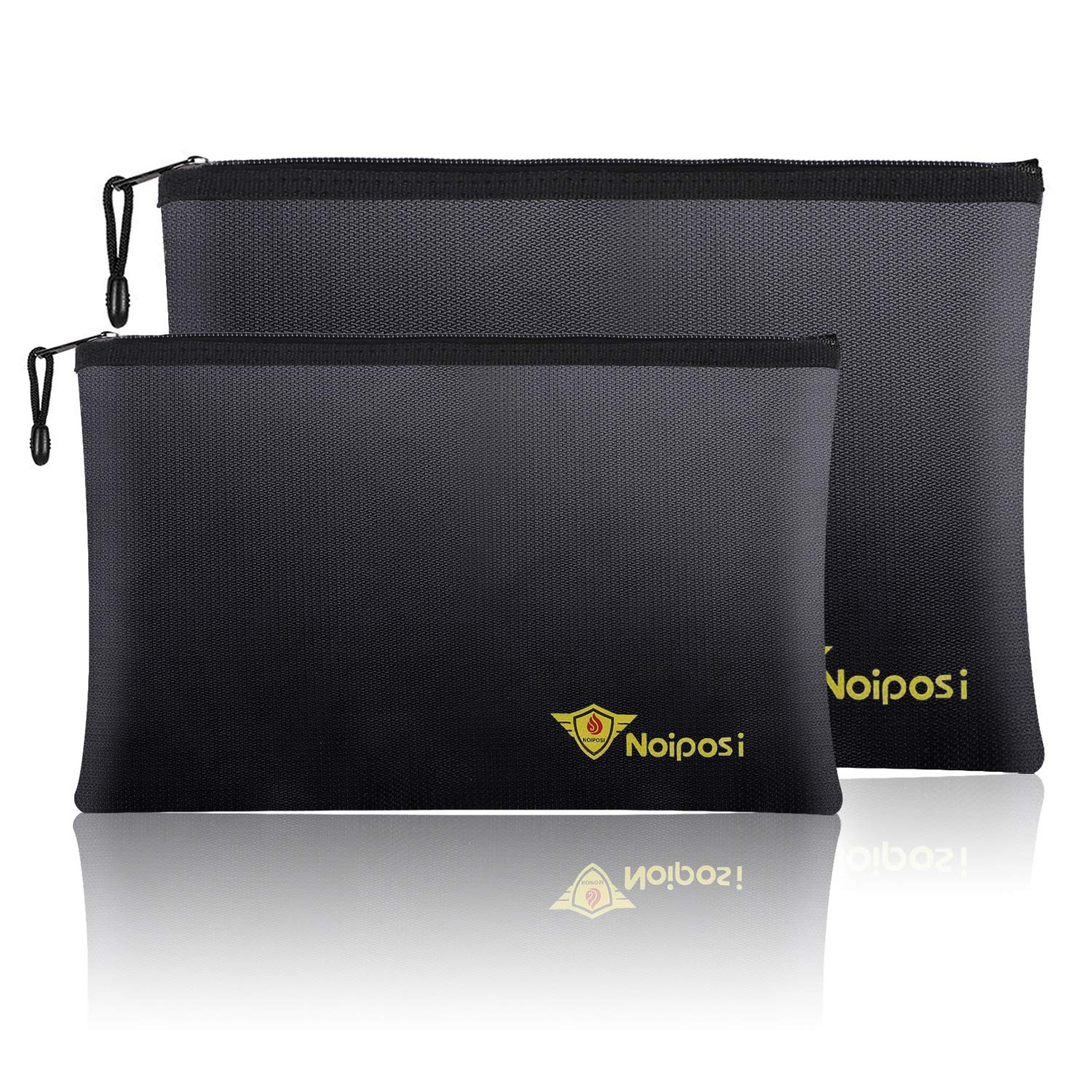 """Noiposi Fireproof Document Bags,13.4""""x9.4"""" Waterproof and Fireproof Bag for Documents and 10.6""""x6.7"""" Fireproof Money Bag with Zipper,Silicone Fire Safe Storage Pouch for Documents,Money and Cash"""