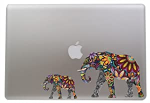 Colorful Flower Elephant - 5 Inch - Apple Macbook Laptop Decal / Sticker with Free 3 inch Colorful Flower Elephant Sticker / Decal
