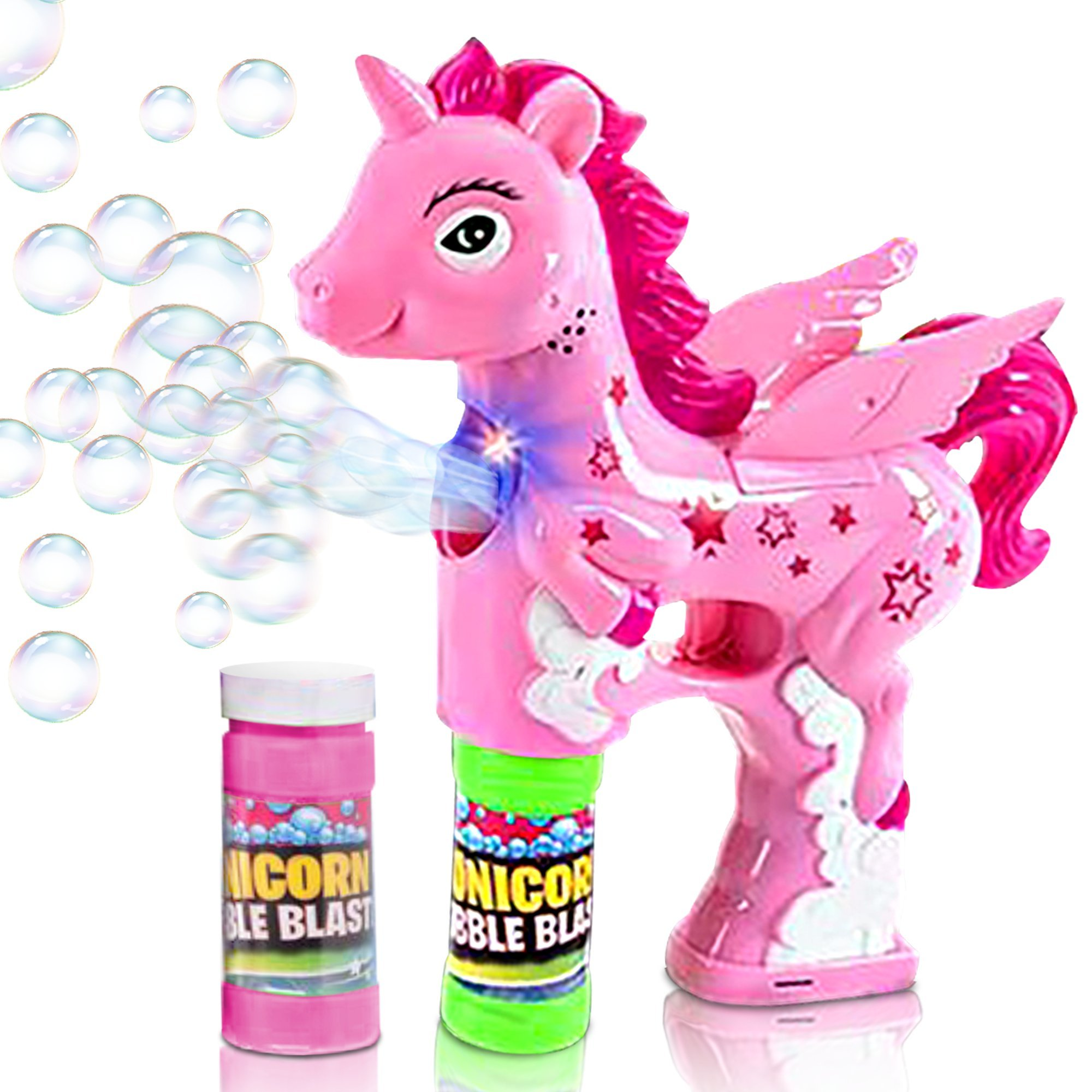 ArtCreativity Unicorn Bubble Blaster with Light and Sound | Includes 1 Bubble Gun & 2 Bottles of Bubble Solution & Batteries Installed, for Girls and Boys (Colors May Vary)