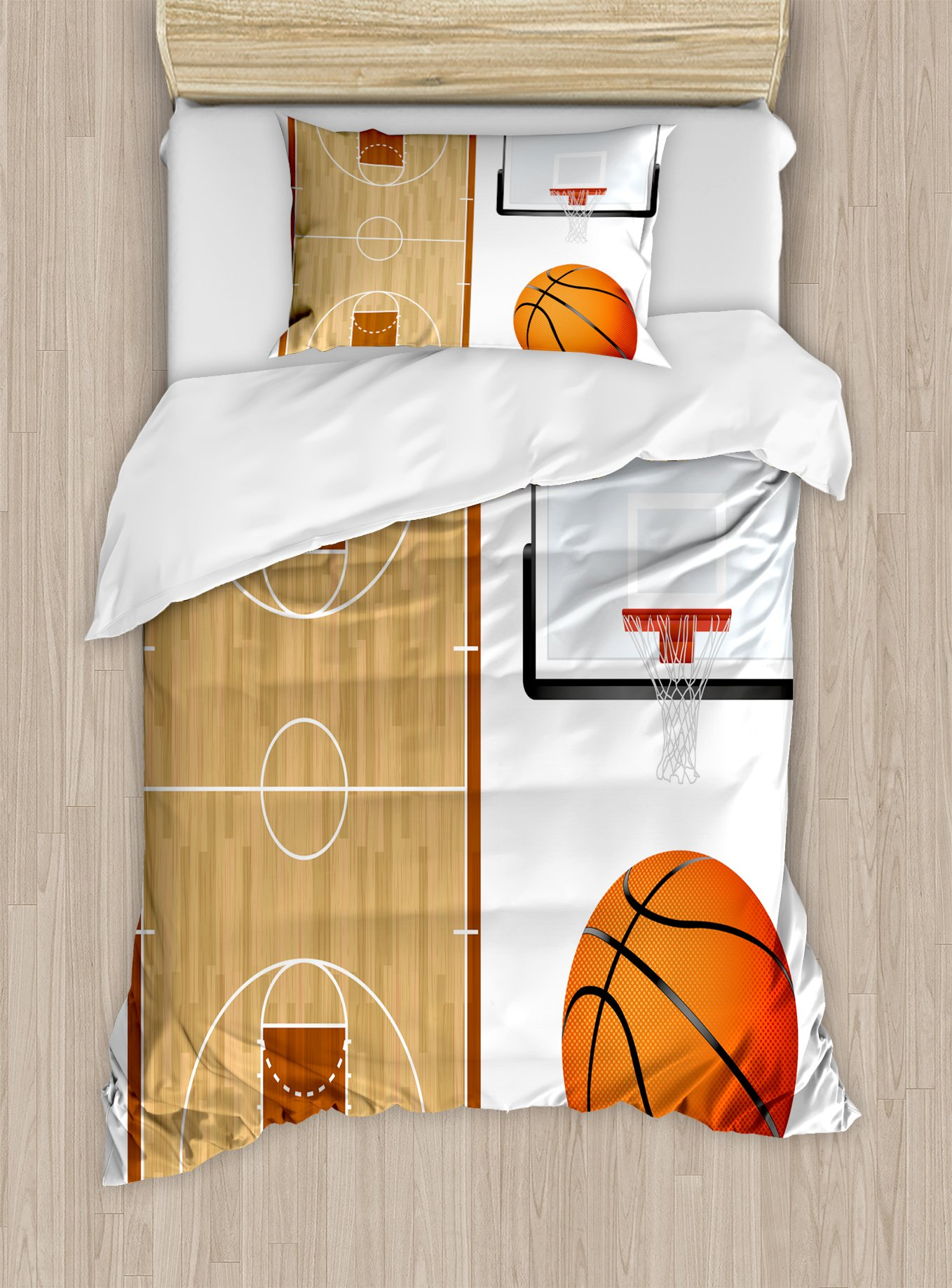 Lunarable Boy's Room Duvet Cover Set Twin Size, Basketball Court Backboard Illustration Realistic Sports Themed, Decorative 2 Piece Bedding Set with 1 Pillow Sham, Pale Brown Orange Black