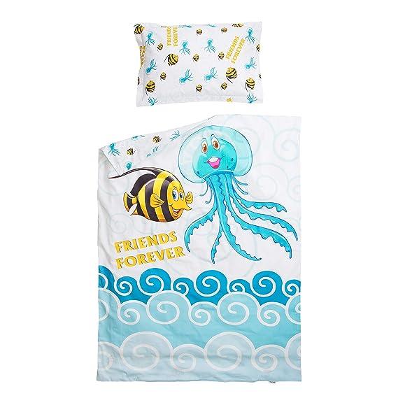 Amigos de peces y medusas PatiChou 100/% Algod/ón Juego de 2 s/ábanas bajeras ajustables para minicuna