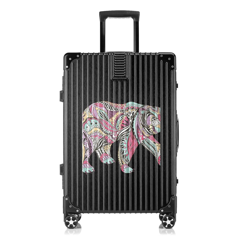 GSHCJ スーツケース カッコイイ動物 クマ キャリーケース 20インチ おしゃれ ブラック Tsaロック搭載 プリント ハード 超軽量 軽い 機内持込 ロックファスナー 旅行 ビジネス 出張 海外 修学旅行 丈夫 便利 レディース メンズ 学生 B07RZ6LS3K