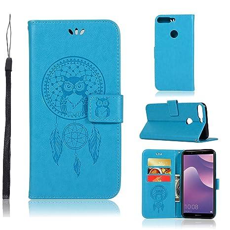 sinogoods para Huawei Y7 2018 Funda, Cuero De La PU Magnético Capirotazo Billetera Apoyo Bumper Protector Cover Funda Carcasa Case - Azul