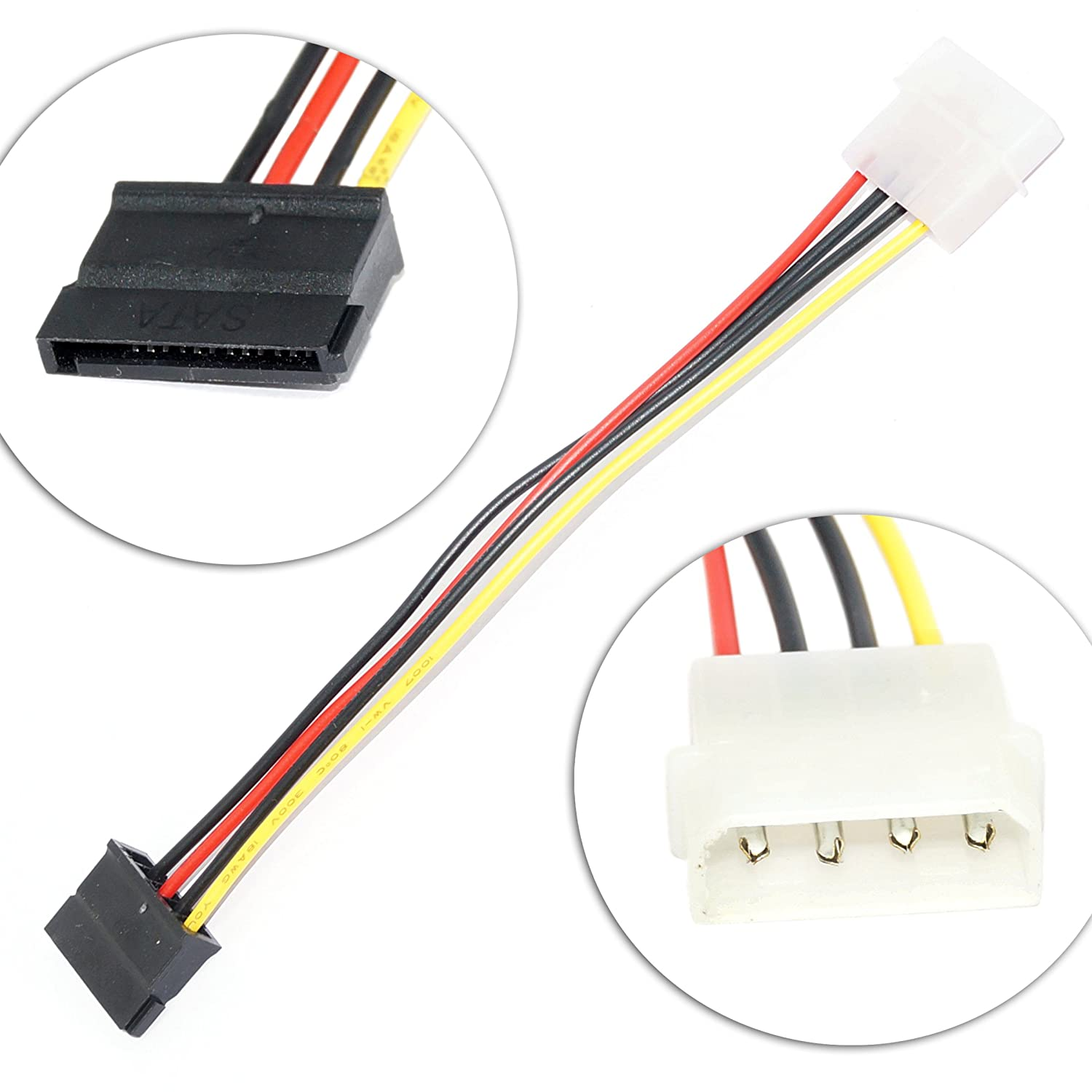 5 X Sata Power Cable 6inch 4 Pin Molex To Slimline Ata Connector 6 Adapter Computers Accessories