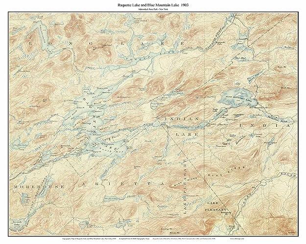 Topographic Map Mountain.Amazon Com Raquette Lake Blue Mountain Lake 1903 Usgs Old