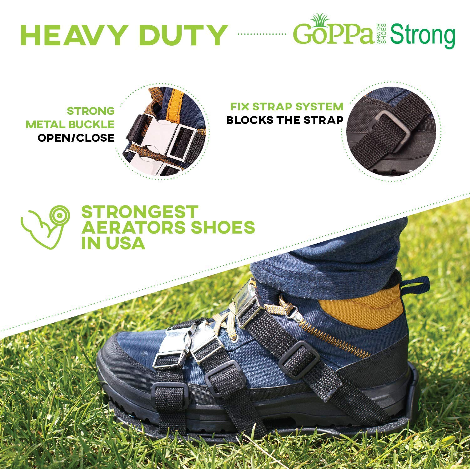 GoPPa Lawn Aerator Shoes – Heavy Duty Lawn Aerator Sandal, You only FIT Once. Ready for aerating Your Yard, Lawn, Roots & Grass – Strong Design by GoPPa (Image #2)