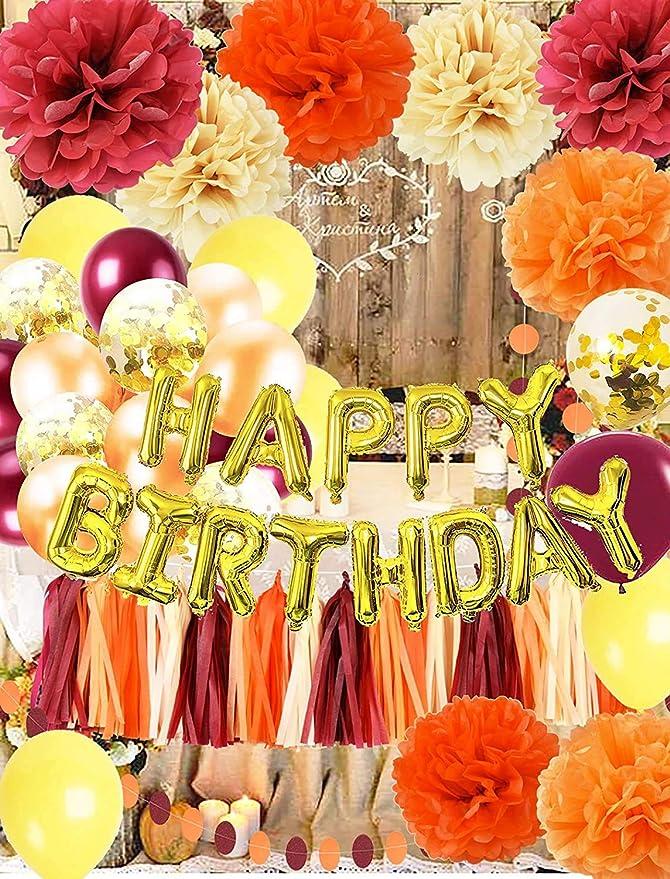 Fall Happy Birthday Decorations Wine Burgundy Gold Champagne Orange/Happy Birthday Balloons Pumpkin Birthday Party Decorations Burgundy Orange Yellow Balloons Fall Theme Birthday Party Decorations