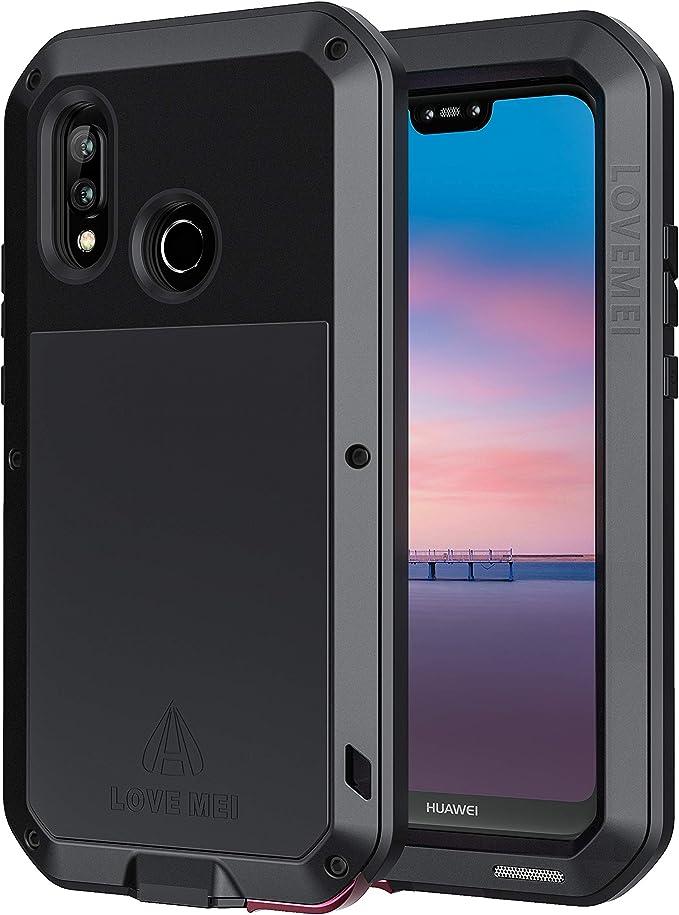 seacosmo Cover P20 Lite, Fullbody Custodia Protettiva Doppio Strato Alluminio Case con Protezione Integrata dello Schermo per Huawei P20 Lite, Nero