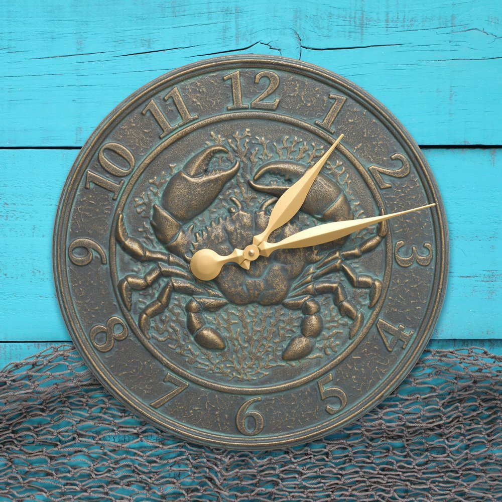 Crab Sea Life 16-in Indoor Outdoor Wall Clock - 00593