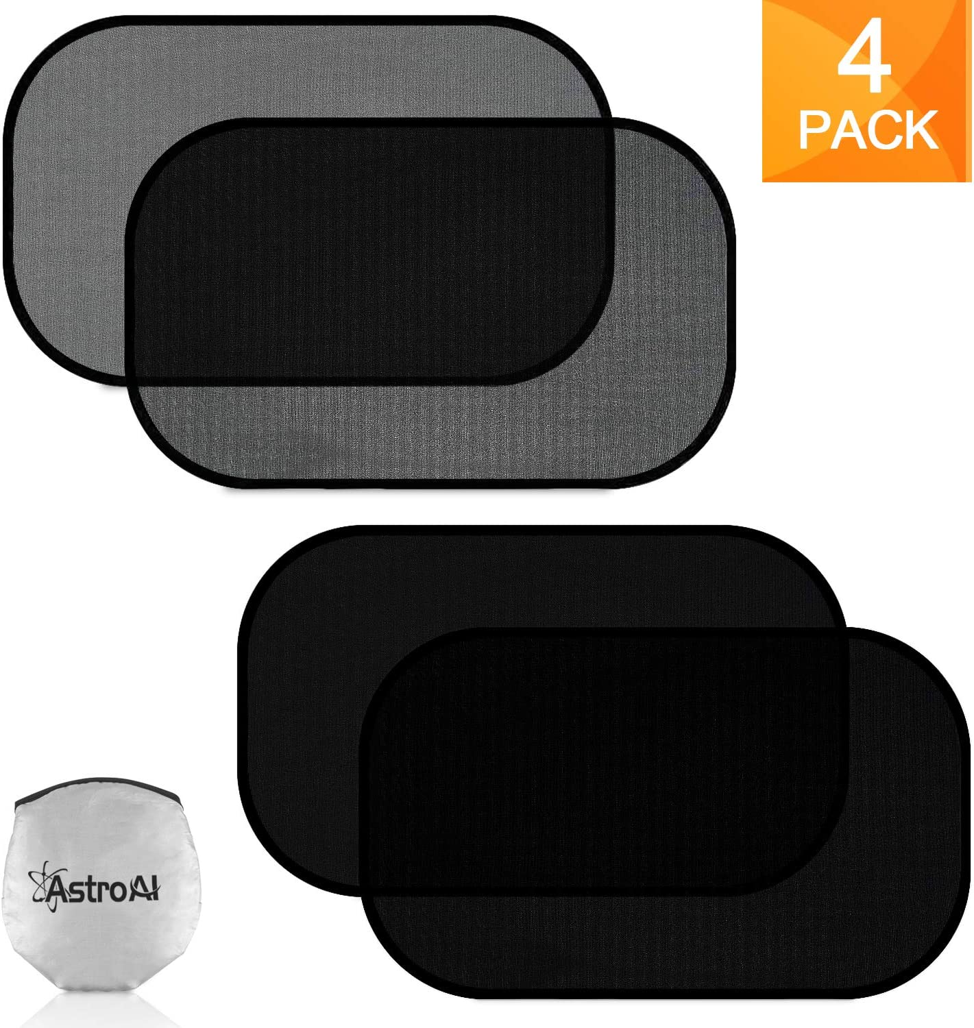 """AstroAI Car Window Shade Car Sun Shade for Baby - 21"""" x 14"""" Side Window Sunshades - Sun, Glare and UV Rays Protection for Your Child - Fits Most of Cars (2 Pack Semi Transparent +2 Pack Transparent)"""