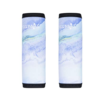a3258eb6bb76 COSMOS Pack of 2 Neoprene Luggage Handle Wrap/Handle Grip/Luggage  Identifier for Travel Bag Luggage Suitcase (Light Blue Marble Pattern)