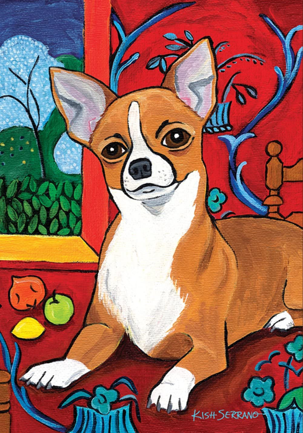 Toland Home Garden Muttisse Chihuahua 28 x 40 Inch Decorative Puppy Dog Portrait Painting Design House Flag