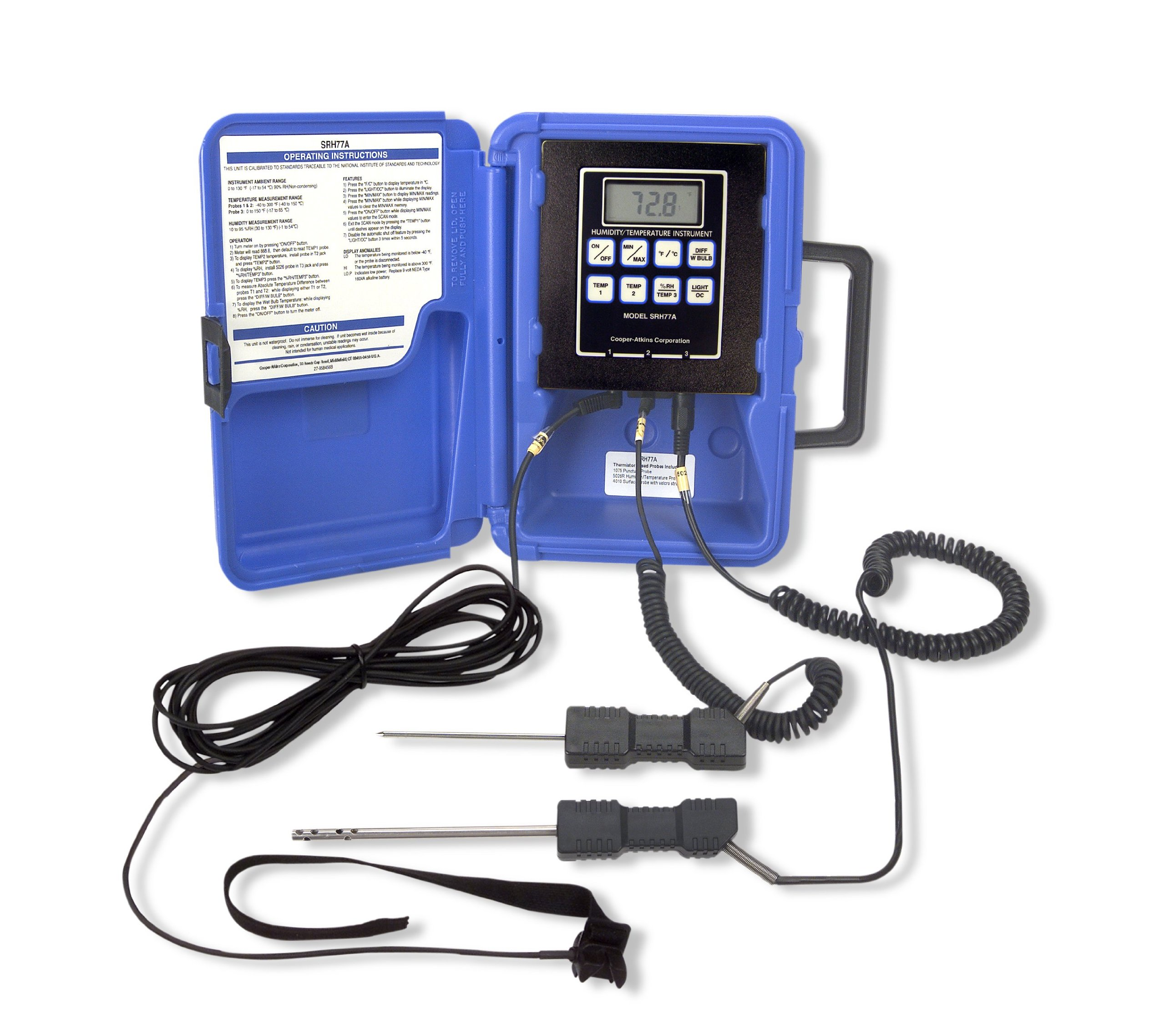 Cooper-Atkins SRH77A-E-NIST 1 and 2 Zone Temperature/Humidity Thermistor Instrument with 1075 General Purpose Puncture Probe, 4011 Pipe Strap Probe and 5028 Humidity Probe, NIST Certifications, -40°F to 300°F Temperature Range