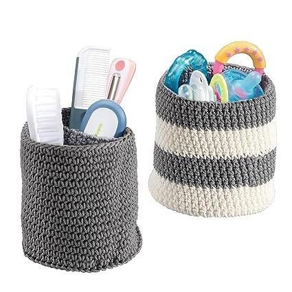 mDesign – Juego de cestas organizadoras versátiles y de gran calidad (mini) – Cestas de tela de color gris y blanco – Organizadores de baño para ...