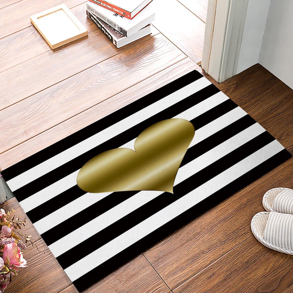 Door Mat Rug Mat Indoor Outdoor Welcome Doormat Black Gold Rubber